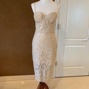 Bebe Lace Cream/Beige Dress